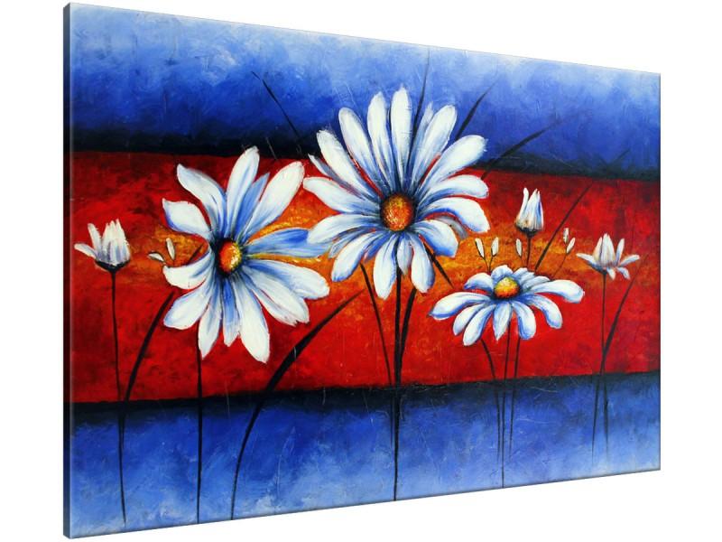Schilderij handgeschilderd Bloemen | Blauw , Rood | 120x70cm 1Luik