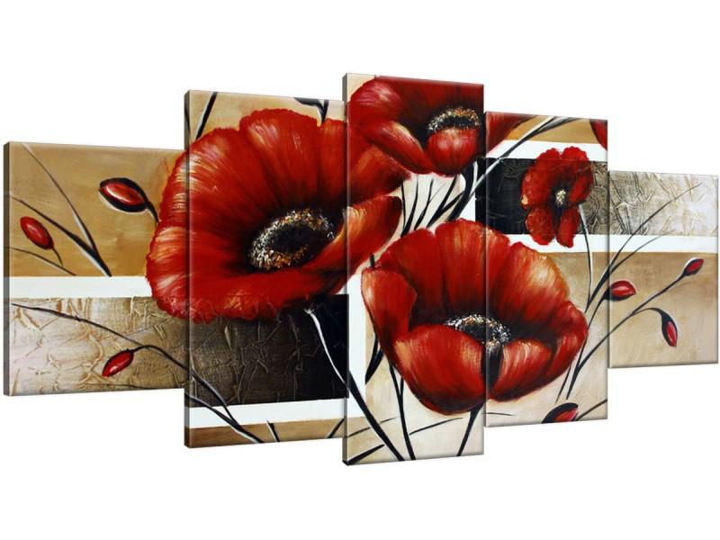 Schilderij handgeschilderd Klaproos | Rood , Bruin | 150x70cm 5Luik