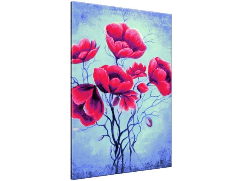 Schilderij handgeschilderd Bloemen | Rood , Blauw , Groen | 70x120cm 1Luik