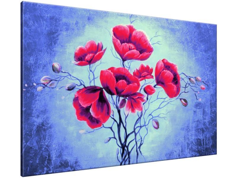 Schilderij handgeschilderd Bloemen | Rood , Blauw , Groen | 120x70cm 1Luik