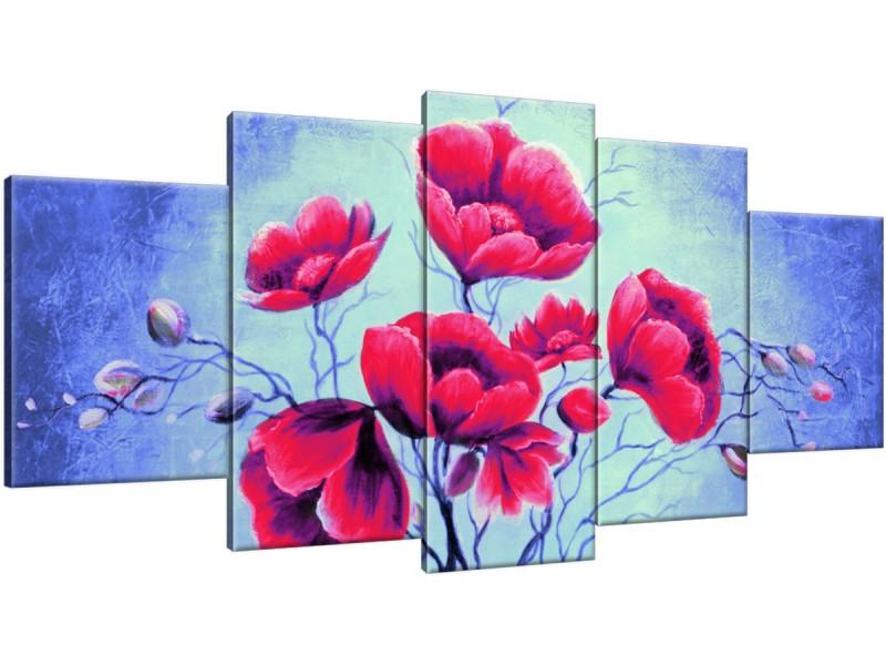 Schilderij handgeschilderd Bloemen | Rood , Blauw , Groen | 150x70cm 5Luik