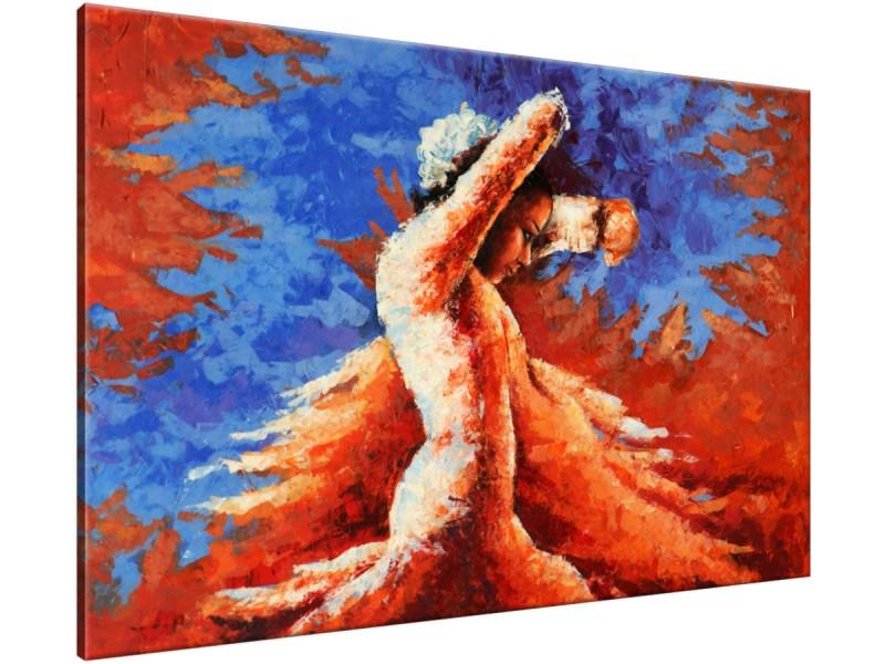 Schilderij handgeschilderd Vrouw | Oranje , Blauw , Rood | 120x70cm 1Luik