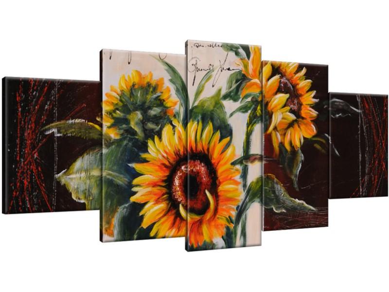 Schilderij handgeschilderd Zonnebloem | Geel , Bruin , Oranje | 150x70cm 5Luik