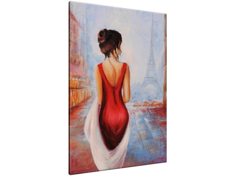 Schilderij handgeschilderd Vrouw | Rood , Oranje , Blauw | 70x120cm 1Luik