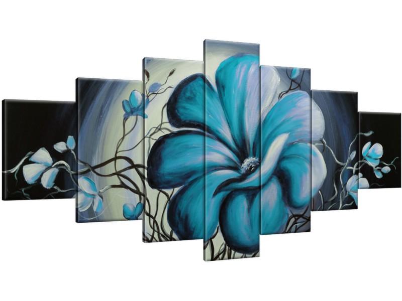 Schilderij handgeschilderd Modern | Turquoise , Blauw | 210x100cm 7Luik