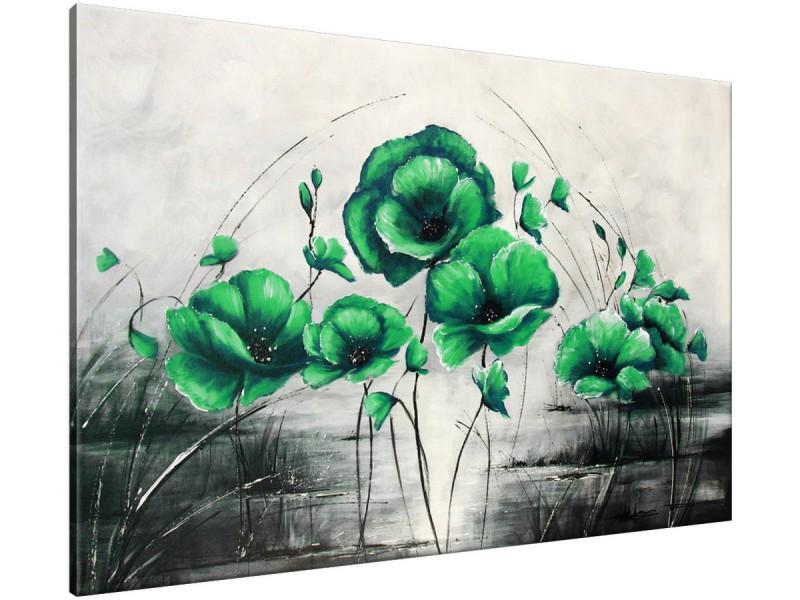 Schilderij handgeschilderd Klaproos | Groen , Grijs | 120x70cm 1Luik