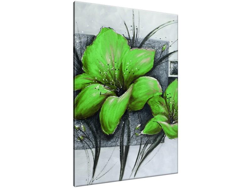 Schilderij handgeschilderd Bloemen | Groen , Grijs | 70x120cm 1Luik