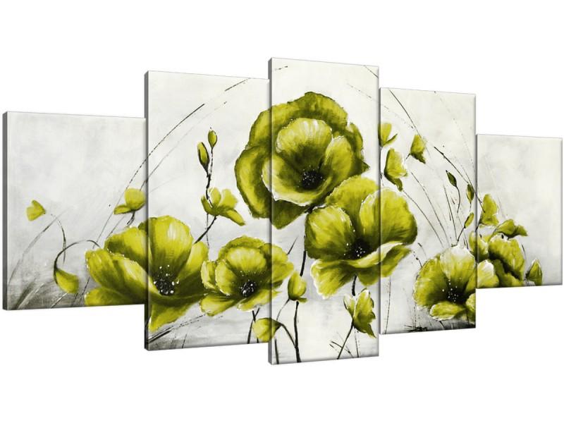 Schilderij handgeschilderd Klaproos | Groen , Geel , Grijs | 150x70cm 5Luik