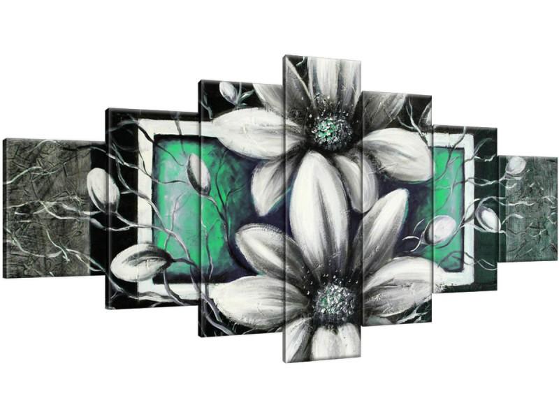 Schilderij handgeschilderd Bloemen | Groen , Grijs , Zwart | 210x100cm 7Luik