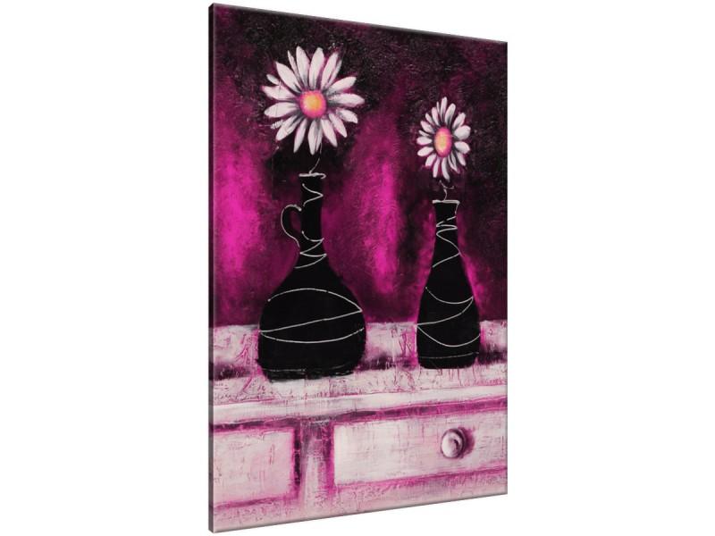 Schilderij handgeschilderd Madeliefje | Roze , Paars , Zwart | 70x120cm 1Luik