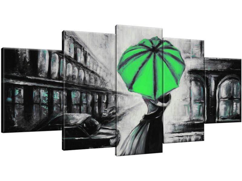 Schilderij handgeschilderd Liefde | Groen , Zwart , Grijs | 150x70cm 5Luik