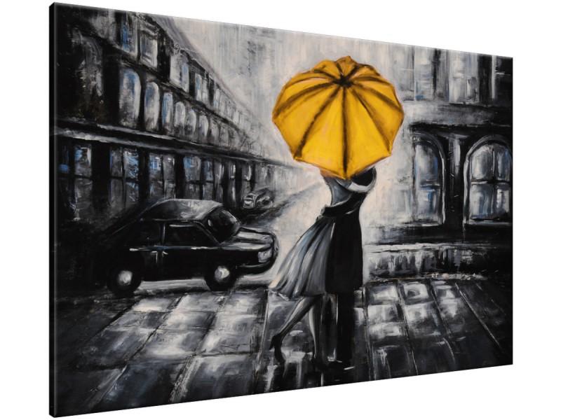 Schilderij handgeschilderd Liefde | Geel , Zwart , Grijs | 120x70cm 1Luik