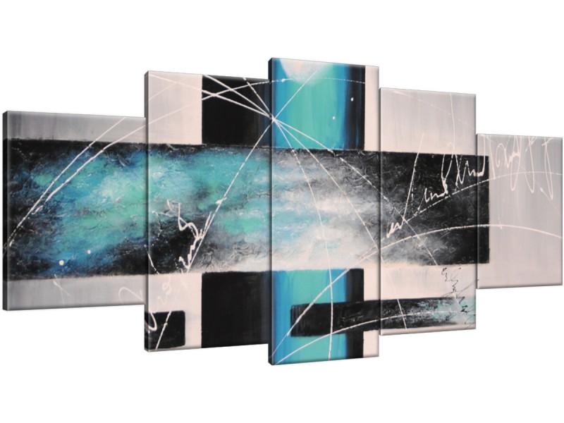 Schilderij handgeschilderd Modern | Turquoise , Grijs | 150x70cm 5Luik