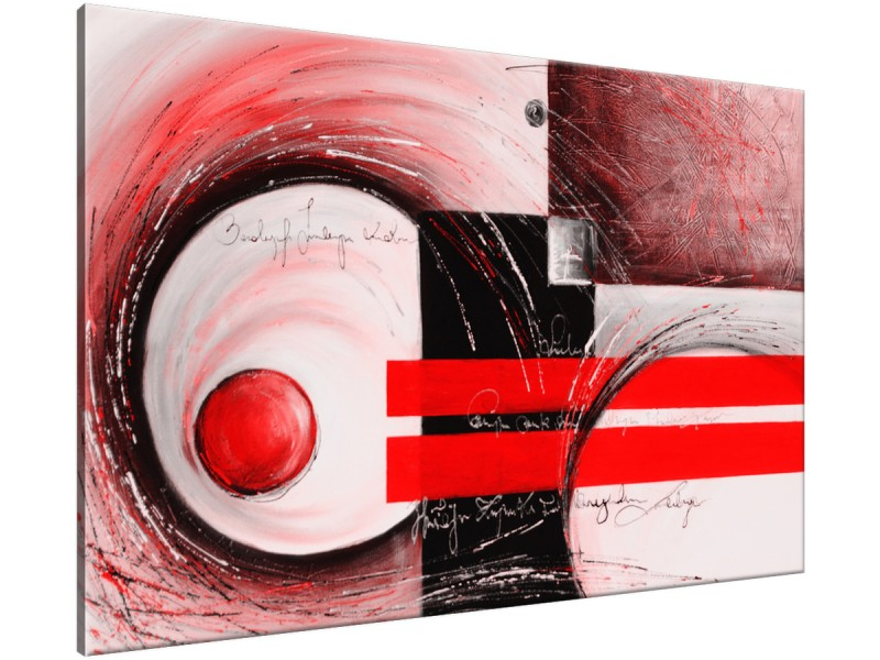 Schilderij handgeschilderd Modern | Rood , Zwart | 120x70cm 1Luik