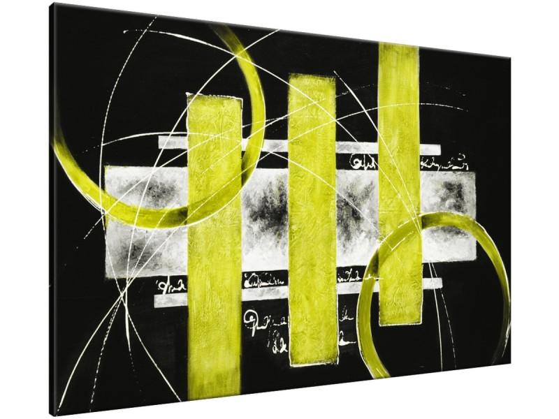 Schilderij handgeschilderd Modern | Groen , Geel , Zwart | 120x70cm 1Luik