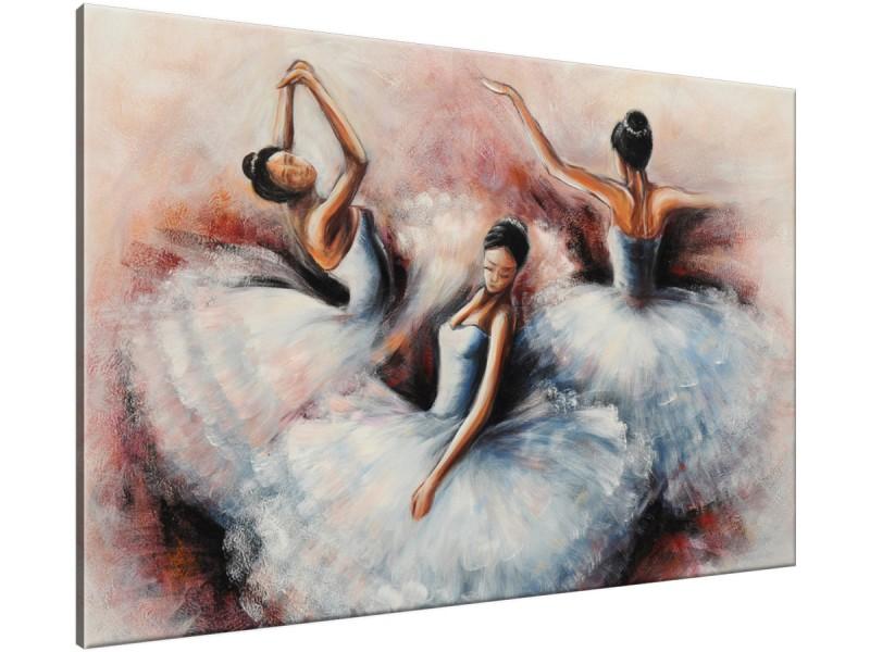 Schilderij handgeschilderd Ballet | Grijs , Bruin , Rood | 120x70cm 1Luik