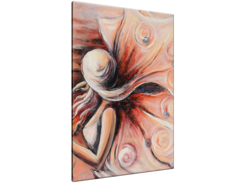 Schilderij handgeschilderd Vrouw | Rood , Bruin , Grijs | 70x120cm 1Luik