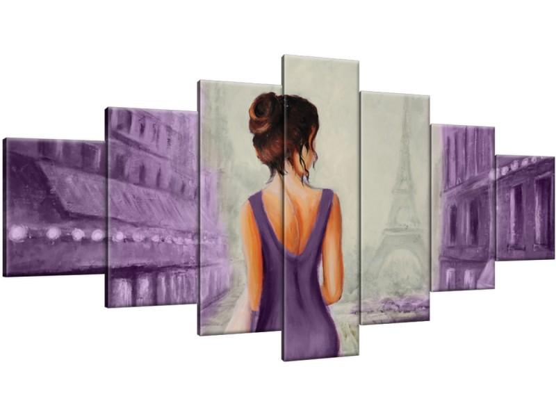 Schilderij handgeschilderd Vrouw | Paars , Grijs | 210x100cm 7Luik