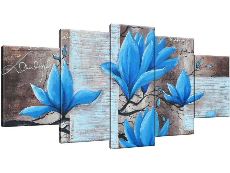 Schilderij handgeschilderd Magnolia | Blauw , Grijs , Bruin | 150x70cm 5Luik
