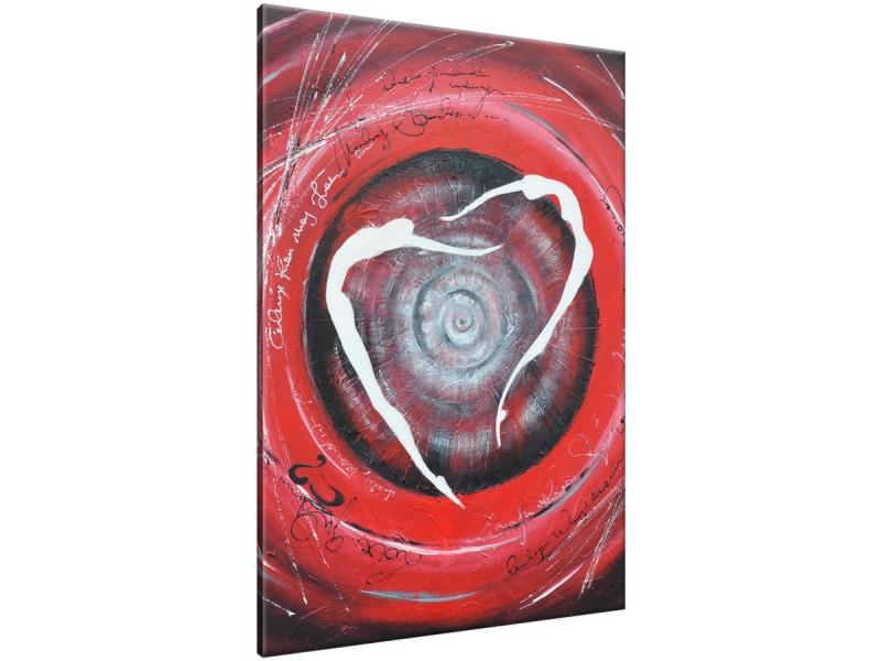 Schilderij handgeschilderd Modern | Rood , Grijs , Wit | 70x120cm 1Luik
