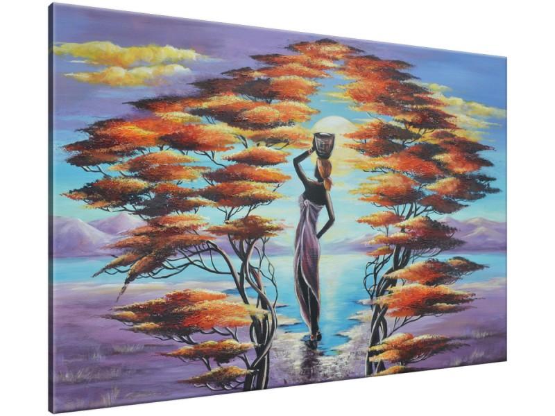 Schilderij handgeschilderd Afrika | Paars , Bruin , Blauw | 120x70cm 1Luik