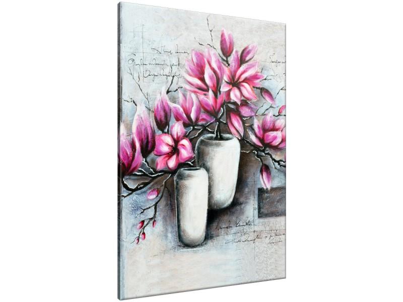 Schilderij handgeschilderd Bloemen in vaas | Roze , Paars , Grijs | 70x120cm 1Luik