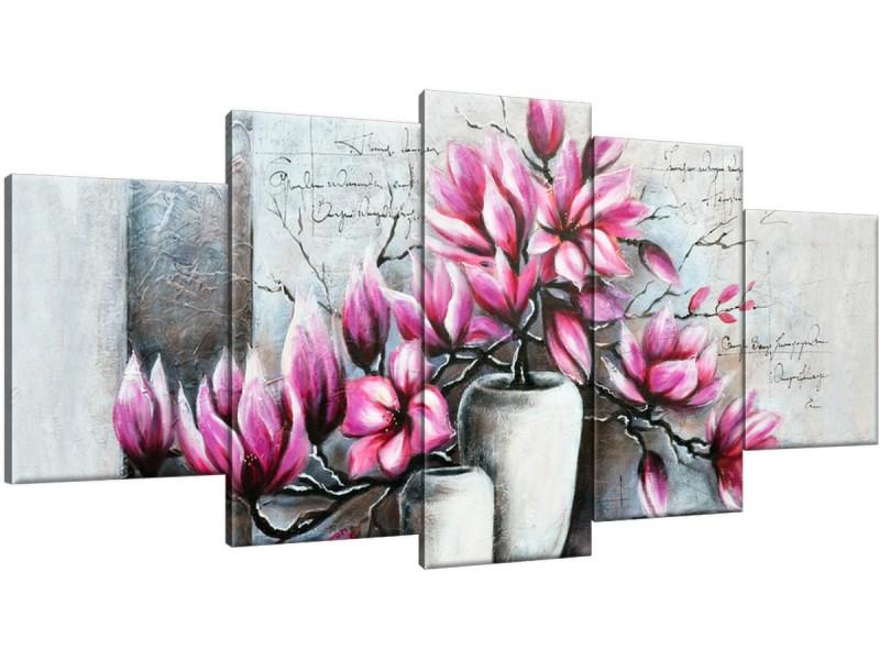 Schilderij handgeschilderd Bloemen in vaas | Roze , Paars , Grijs | 150x70cm 5Luik