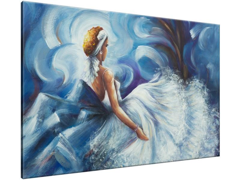 Schilderij handgeschilderd Vrouw | Blauw , Grijs | 120x70cm 1Luik