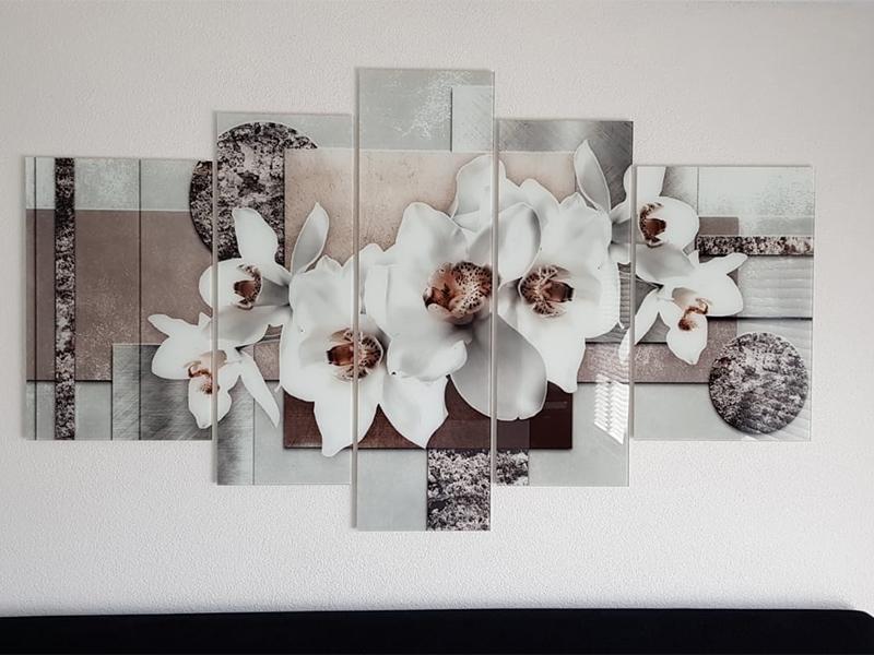 Glas schilderij 5 luik bloem GroepArt