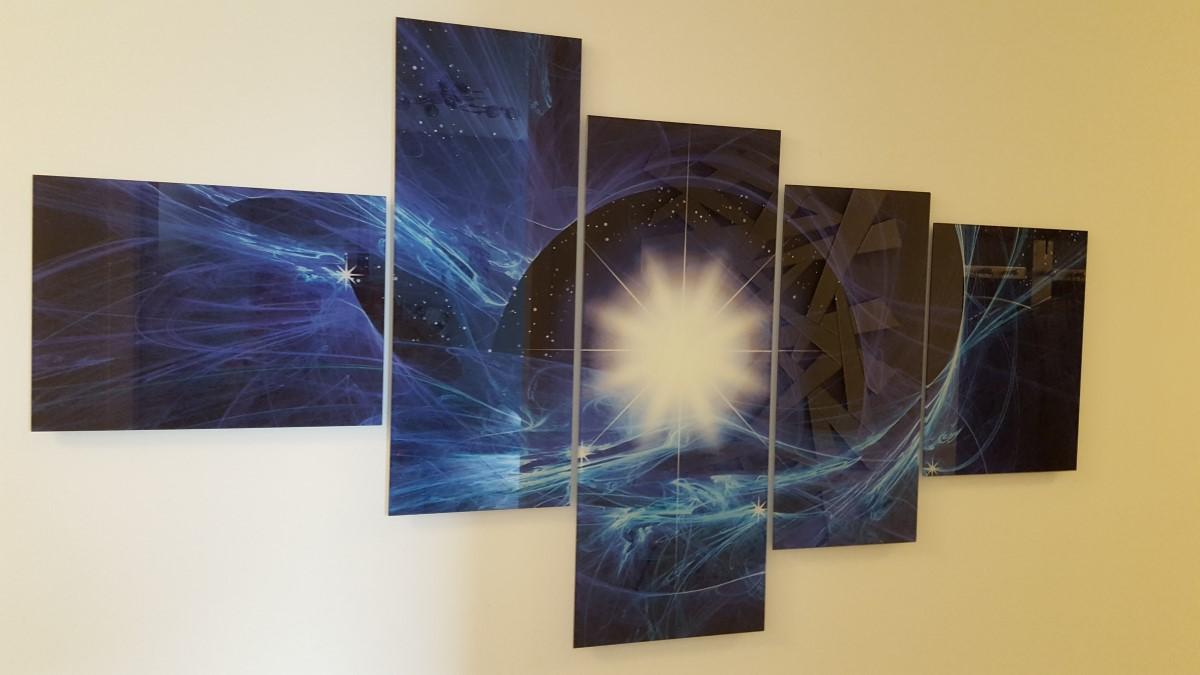 Glas schilderij 5 luik abstract